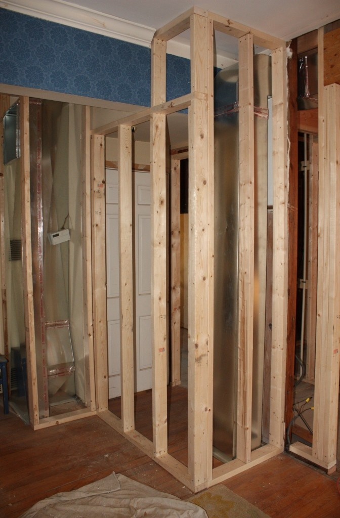 Framing that encases new ductwork and effectively relocates the basement entrance from the living room to & A Tricky Corner u2013 Letu0027s Face the Music
