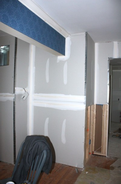Once drywalled the dilemma became obvious: is this a dining room wall or living room wall?