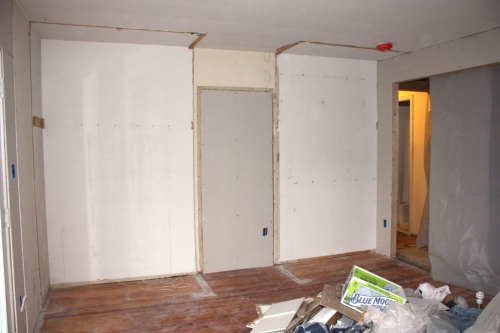 This wall used to open into the hallway.  Now we'll use the large opening created on the right to access the hallway, master closet and master bathroom.