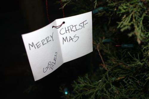 Here's the gift tag hanging on the tree.
