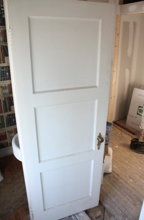 3-panel door original door painted white
