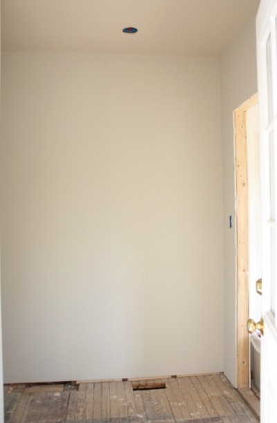 The walls are Moonshine and the ceiling is Edgecomb Gray both from Benjamin Moore.
