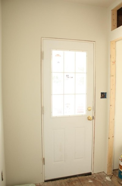 The mudroom has been drywalled and painted.