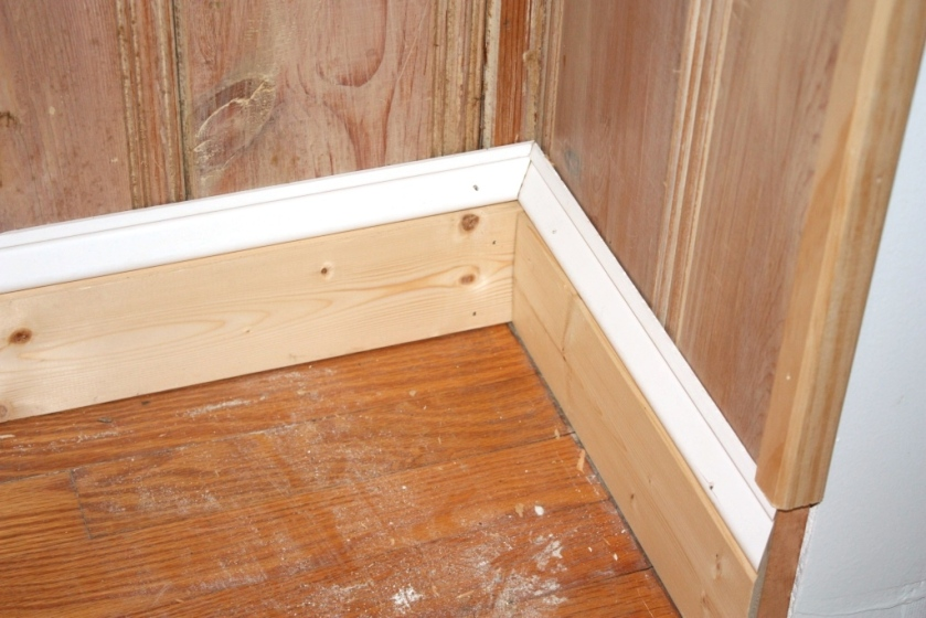 We're using 1 by 4 topped with ogee molding for the baseboard.