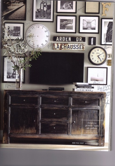 I have photos of Paris, etchings of Pisa, a special license plate, a clock, etc. I'll leave out the TV.