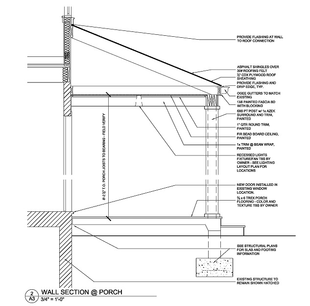 This drawing is very detailed in what actually makes a porch.