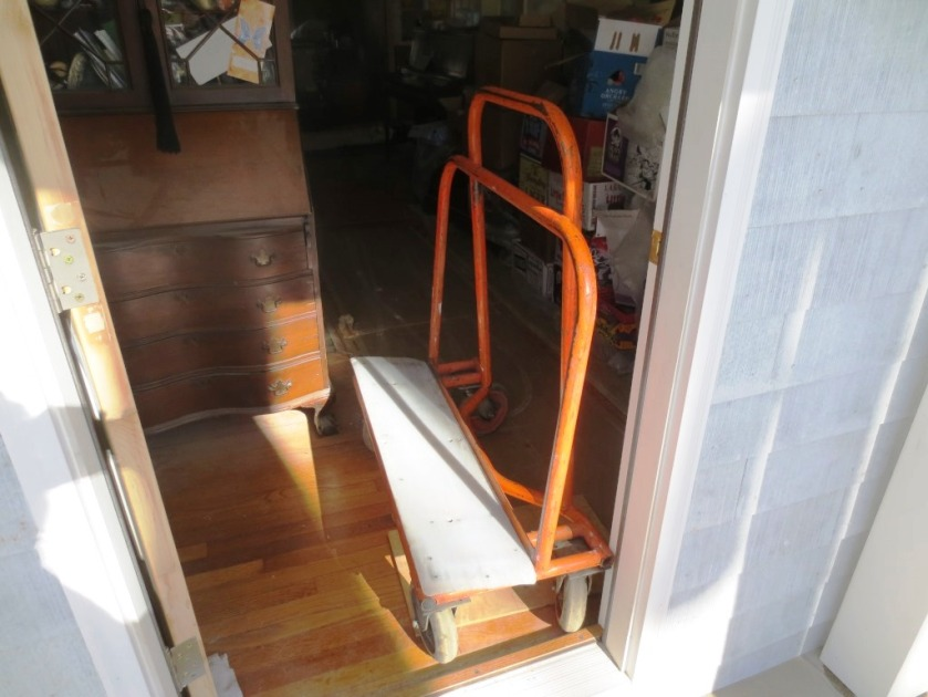 The drywall was trucked into the house on this nifty cart.