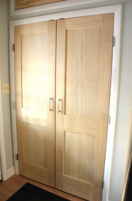 The mudroom closet has 4-foot Shaker double doors which will be repeated twice on the conservatory closet.