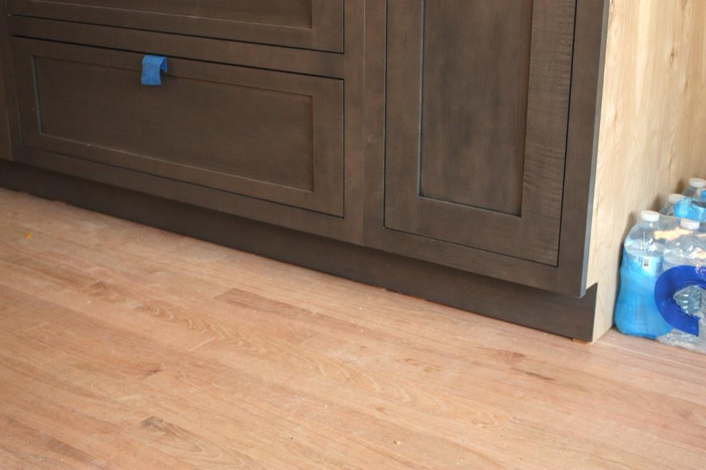in its unfinished state the red oak flooring is pale