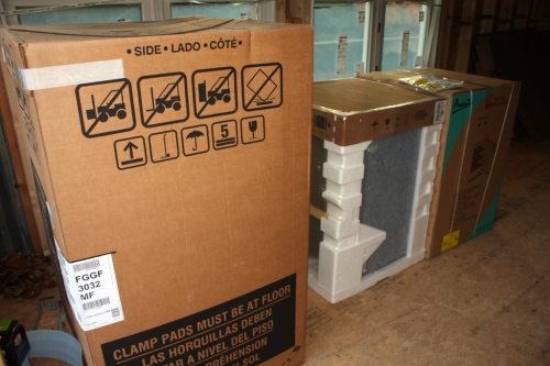 Our stove, dishwasher and undercounter refrigerator are still in their boxes.