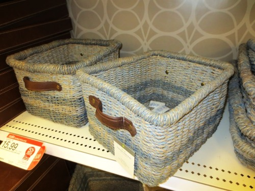 I saw these pale blue/grey baskets with leather handles at Target but they were ON SALE for $16 each.