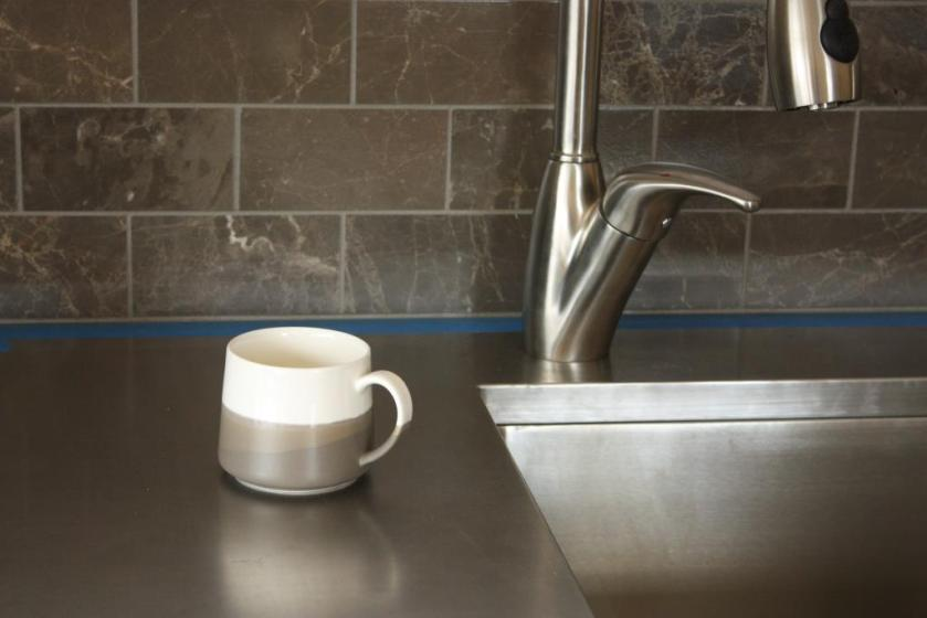 The middle of the mug matches our backsplash tile.