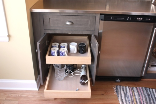 Deep drawers can hold all the supplies necessary for regular coffee service.