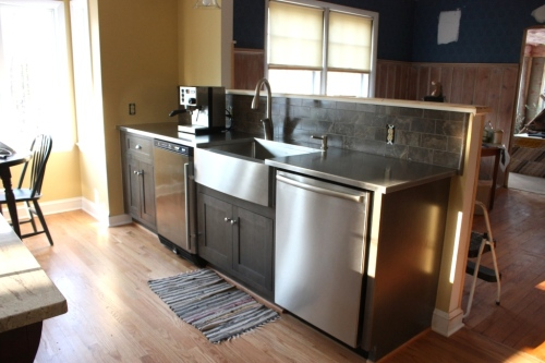 Dishwasher and undercounter fridge