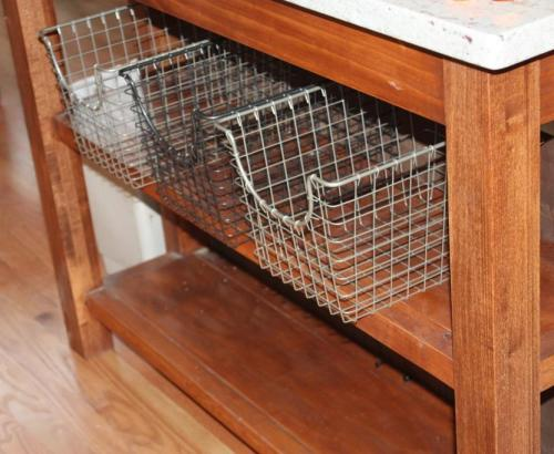 The baskets, which are a little wider than the shelves, sit comfortably.