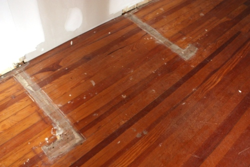 Removing 2 closets left unfinished marks on the floor.