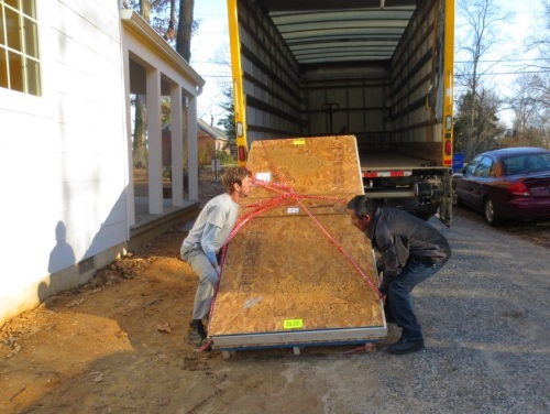 Two mighty men unloaded the quarter-ton countertop onto the driveway.