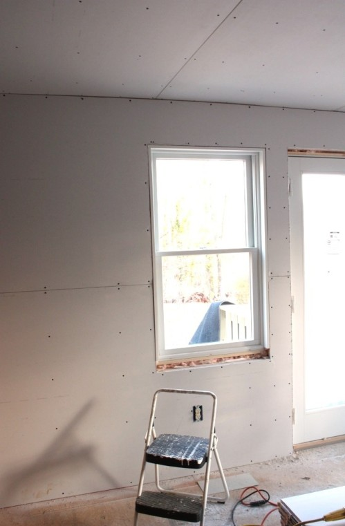 Sheetrock on the wall is hung horizontally.