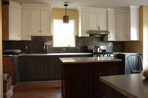 The kitchen is the most finished area of the house.