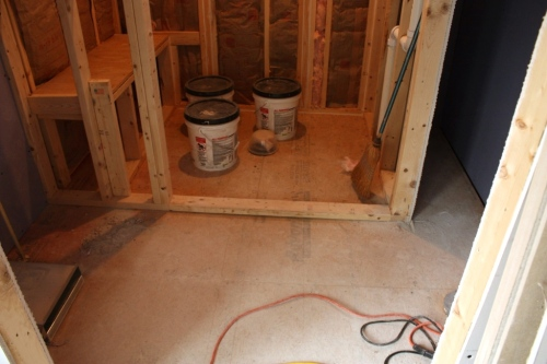 The floor both inside the shower and out will be tiled.