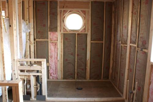 A view of the master bathroom from the doorway.