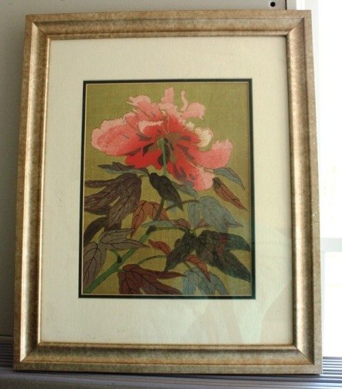 "This 19"" by 24"" peony print will brighten up the green walls of the conservatory."