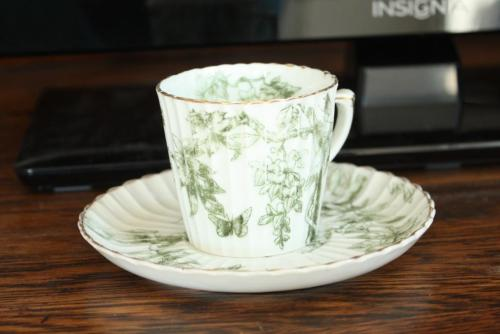 A delicate green and white demitasse.