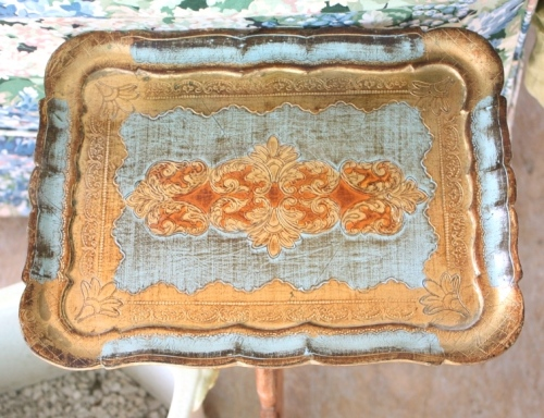 "Pale green and burnished gold Venetian tray -- 10"" by 13""."