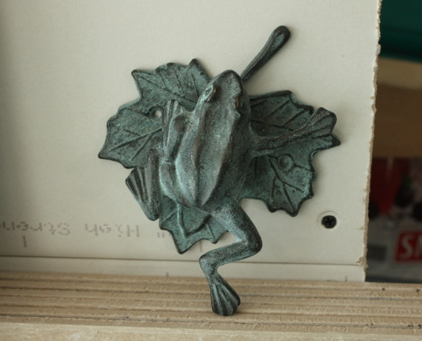 I've had this cute frog on a leaf for decades and I'll finally have a door for him to knock on.
