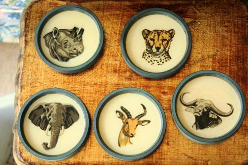 A vintage set of animal coasters.
