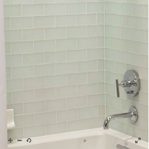 Snow frost glass subway tile is available at the Tile Shop.