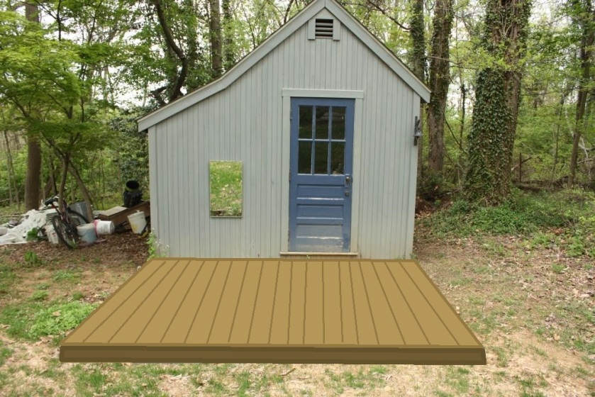 I think the shed will be sooo cuuuute with a little deck.
