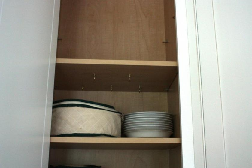 The kitchen cabinets use shelf pins in a column of holes.