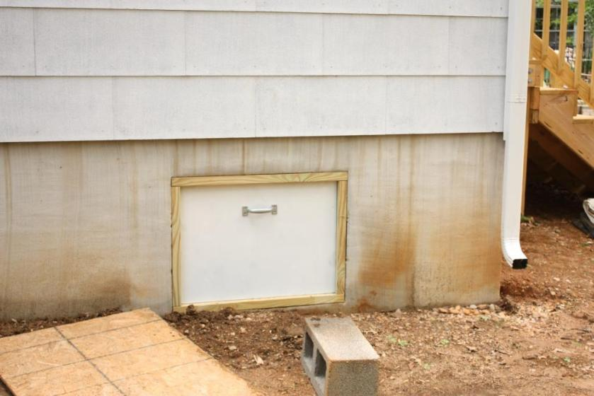 The specially made door was a perfect fit to the crawlspace access hole.