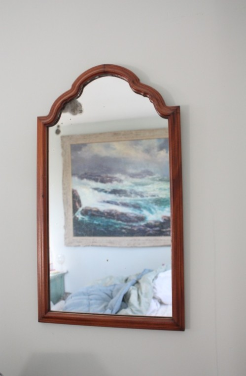 This slightly larger antique mirror would look great over Charlie's sink.