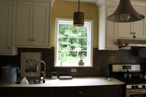 The casement window over the long counter in the kitchen.