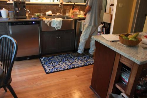 While I would have preferred a longer runner I was glad to get 2 rugs for the kitchen.