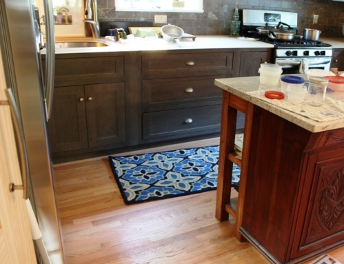 Charlie's rug is in front of the sink while mine is centered on the counter between the sink and the stove.