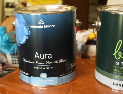 "A gallon of Benjamin Moore Aura paint in the color ""Sparrow"" for $5."