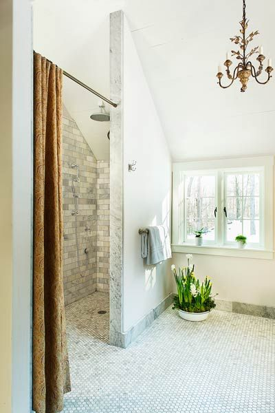 Love the zero-threshold shower.  I would want more glass in the surround.