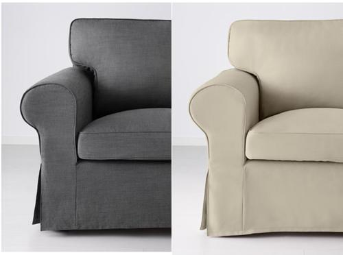 Ikea's Ektorp in either grey or beige would work in the living room.