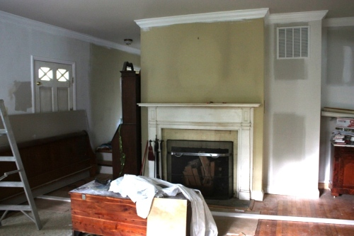 The fireplace was really discolored and dingy.