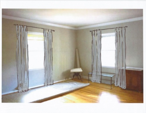 Straight curtains with a pinch pleat hanging from a simple rod seems more appropriate.
