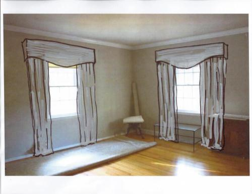 Living room curtains with a framed valance