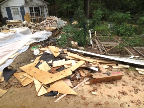 This debris was in the yard for a while back in 2014.