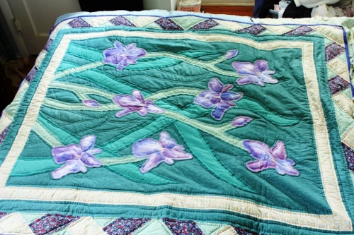 My mother's favorite flower was the iris so I made a quilt with hand-painted flowers.