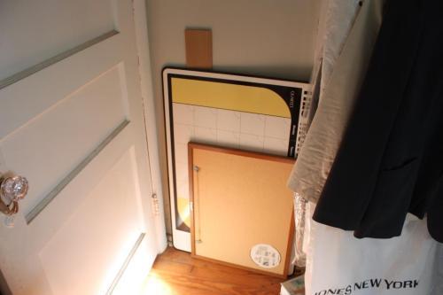 Two bulletin boards lurking behind my bedroom door.