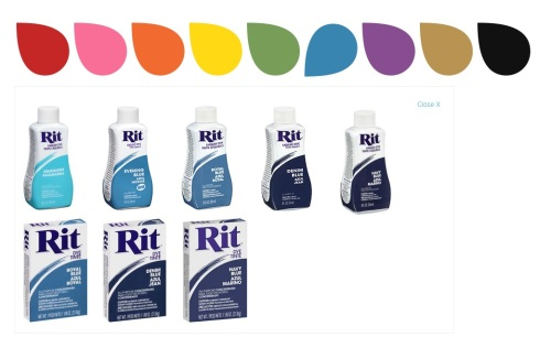 Rit dye comes in liquid and powder.