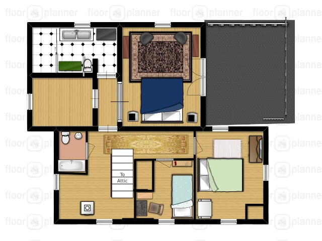 Floor plan of the second floor.  The master bath is the black and white tiled section.