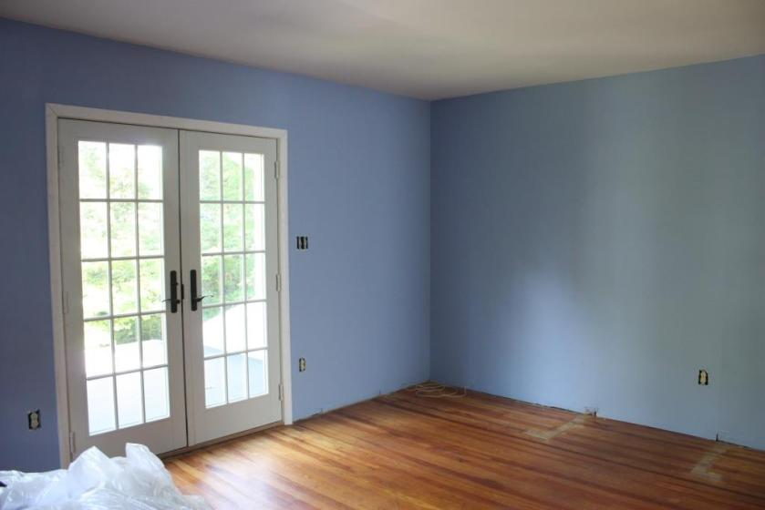 The master bedroom is periwinkle blue called Virtuoso.
